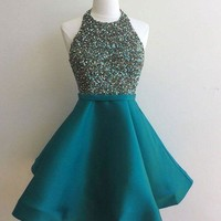 Green Halter Sequins Strapless Homecoming Dress