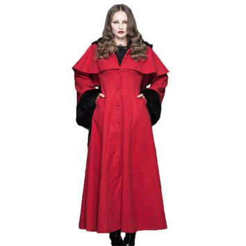 Punk Gothic Women Casual Hooded Coats Flare Sleeve Plush Woolen Coat Outwear Hooded Floor-length Outwear