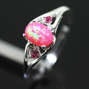Sterling Silver and Pink Fire Opal Ring
