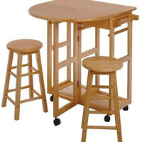 Wood Drop Leaf Table Round Stool Dining Room Apartment Space Saver