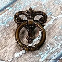 Vintage Keeler Ring Pull Brass Drawer Pull Brown Knocker Pull Decorative Antiqued Brass Drawer Pull Dresser Hardware O-Ring Drawer Pull