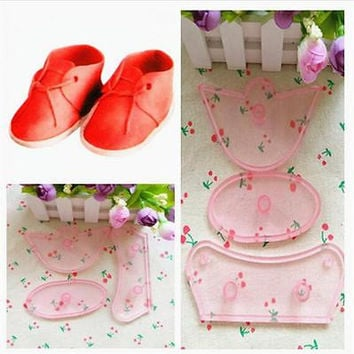 3Pcs Baby Birthday Shoes Cake Mold Cutter Mould Sugarcraft Cutters Tool