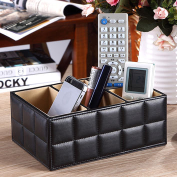 Remote Control Phone Holder Luxury Wood+PU Leather+Non-woven Fabrics Home Office Car Organizer Storage Boxes Black White