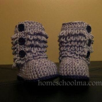 CREY1O Crochet Ugg inspired Baby Boots Grey Black sole & by homeschoolma