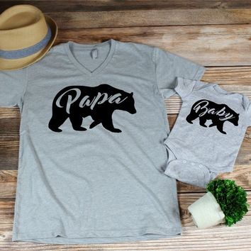 Papa Bear baby Pear matching shirts or bodysuit
