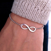 Sliver chain with  Silver Infinity Bracelet Chain by pier7craft