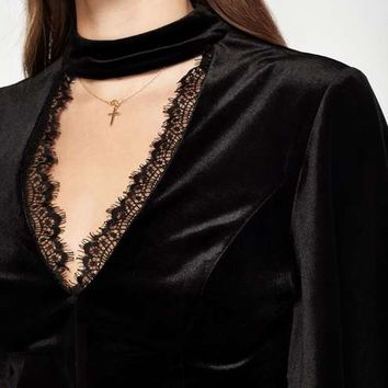 Black Velvet Angel Sleeve Top - Tops - Apparel