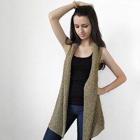 FREE SHIPPING Pure linen vest Knitted beige and ivory long vest  Beige Linen vest Spring and summer overcoat Hippie Boho Vest