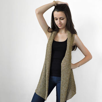 Shop Long Knit Vest On Wanelo