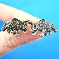 Elephant Shaped Animal Stud Earrings in Silver with Rhinestones | DOTOLY