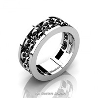 Mens Modern 14K White Gold Black Diamond Skull Channel Cluster Wedding Ring R913-14KWGBD