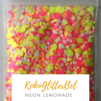 Neon Matte Glitter Mix Dots - Lemonade