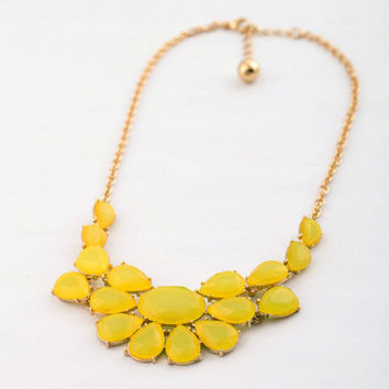 Yellow Statement Bib Necklace,KISSME Style Trendy Necklace Jewelry,Wedding Bridesmaid Gift, FREE Gift Box Packaging Available