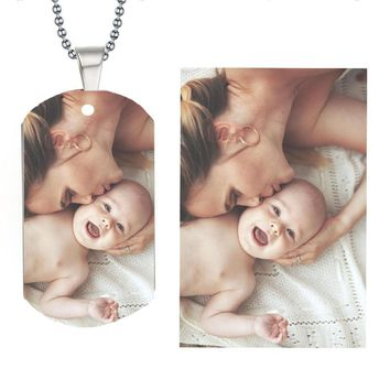 Stainless Steel Personalized Photo & Name Tag Baby Family Engraved Pendants Custom Necklaces Your Love Gift Can Drop Shipping