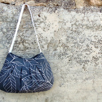 Grey bag with white leaves. Medium size tote. Fabric handbag in light carchoal