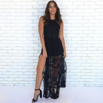 Lace Against Time Maxi Dress in Black