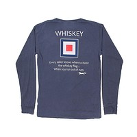 Long Sleeve Whiskey Flag Tee in Navy by Country Club Prep