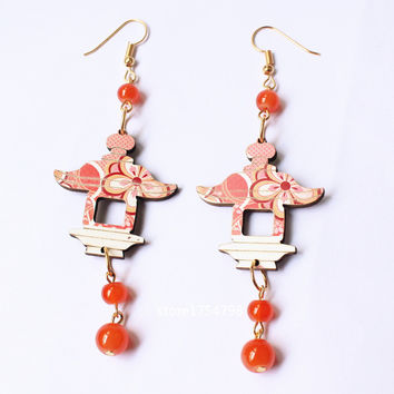Colorful Carving wood Pavilion Earrings Stone Beads Handmade  Laser Wooden Bird Jewelry