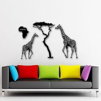 Wall Stickers Vinyl Decal Giraffe Africa Animal Continent Tree Decor Unique Gift (ig959)