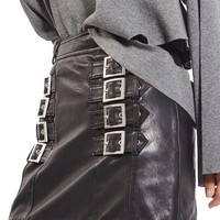 Topshop Buckle Detail Leather Miniskirt | Nordstrom