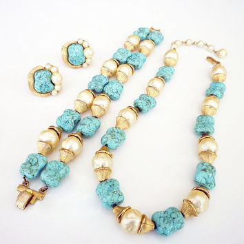 Crown Trifari Necklace Bracelet Earrings Baroque Pearl Turquoise Glass Vintage Jewelry Set