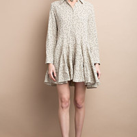 Faded Jade Printed Shirt Dress