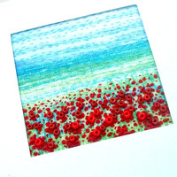 "Poppy Field - beaded card - hand embroidered -  fabric art card - 3.5"" x 4.25"""