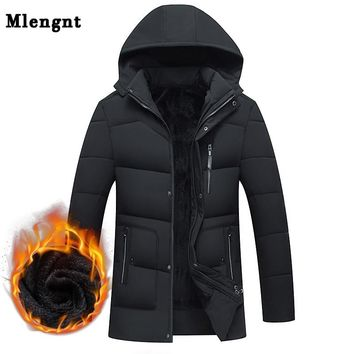 Men Winter Fleece Thick Long Jacket -20 Winter Male Casual Warm Cotton Padded Windbreaker Hooded Parka Streetwear Coat