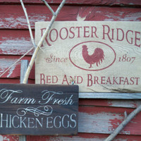 Farm fresh eggs,  Rooster Ridge bed and breakfast red rooster chicken coop farmhouse barn farm eggs hen montana sign