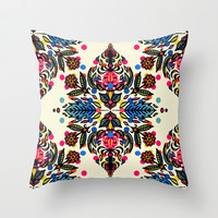 Bright Folk Art Pattern - hot pink, orange, blue & green Throw Pillow by micklyn