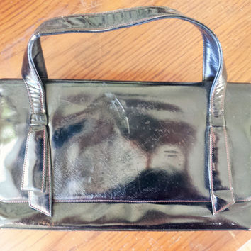 Vintage 1950s Black Patent Leather Coblentz Original Handbag
