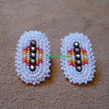 Rosette style Beaded Native American inspired  post earrings