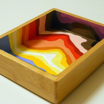 Rainbow Stripes small Bamboo Tray by Precious Beast
