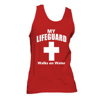 My Lifeguard Walks on Water Unisex American Apparel Tank Top, Christian Tank Top