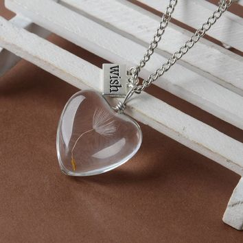 Real Dandelion Seed In Glass Wish Bottle Necklace - Free Shipping