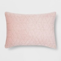 Pink Quilted Velvet Lumbar Throw Pillow - Project 62™