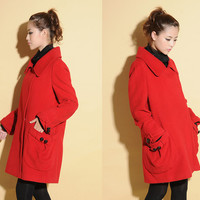 Flower Bud Pure Wool Coat with Big Pleated Pockets/ 17 Colors/ RAMIES
