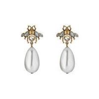 Gucci Bee earrings with drop pearls