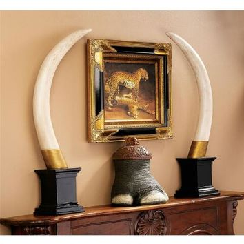 British Colonial Elephant Tusk Sculptural Trophy