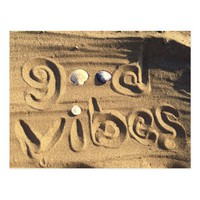 "Fun, ""Good Vibes"" Quote Drawn In Beach Sand Photo Postcard"