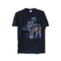 Vintage Wolf T-shirt 80's Black Hipster Shirt 1987