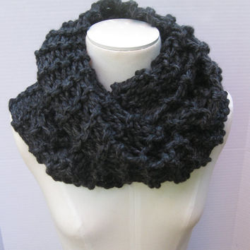 Outlander wool cowl charcoal grey hand knitted #outlander