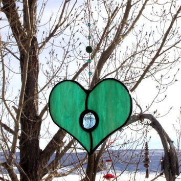 Stained Glass Heart Suncatcher or Ornament - Seafoam Green with Blue Gem and Beaded Strand