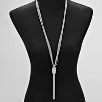 Crystal Drop Tube Necklace (SILVER)