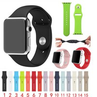high quality 1:1 original Sports strap For Apple Watch Band Silicone 42mm 38mm Series 1 Series 2