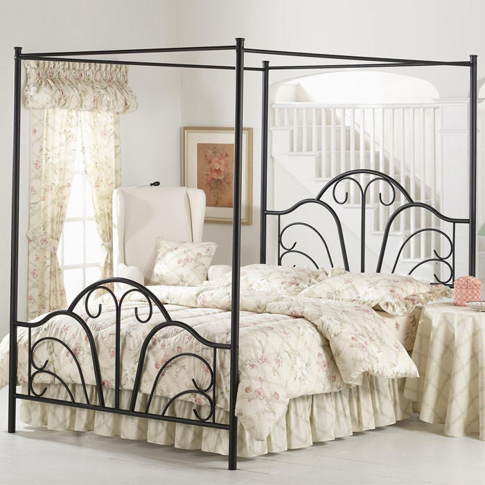 Full Size Matte Black Metal Canopy Bed With Scroll Design