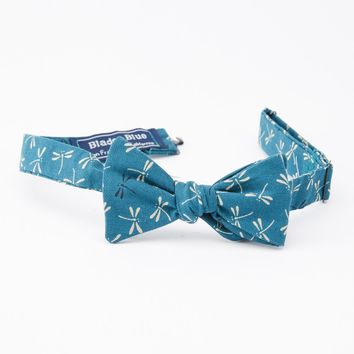 Teal Green Dragonfly Print Bow Tie