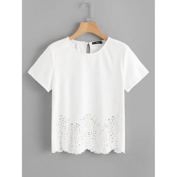 Scallop Laser Cut Out Top White