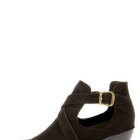 Soda Tidy Black Belted Cutout Ankle Boots