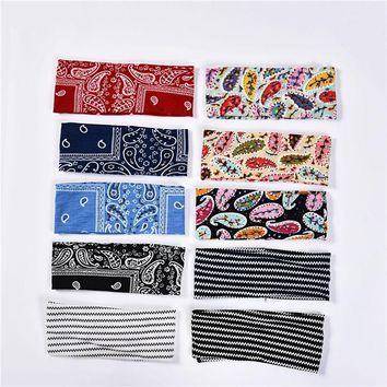 Haimeikang Women Elasticity Printing Wide Side Stripe Printed Hair Band Headbands Retro Turban Bandage Bandana Hair Accessories